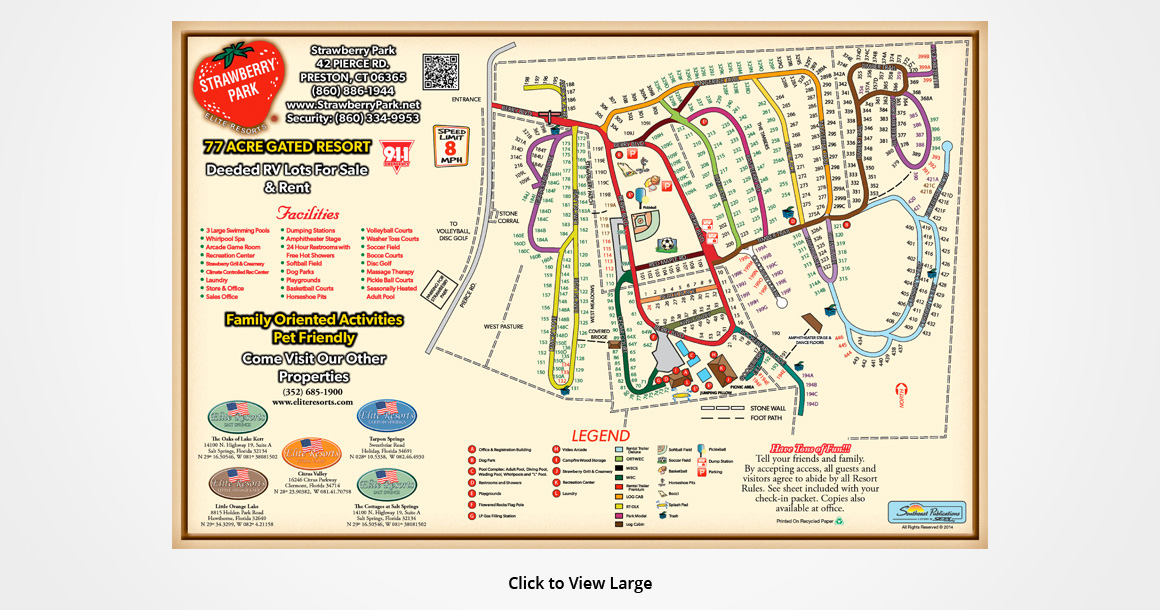 Elite Resorts Strawberry RV Park Connecticut Map Of Resorts - Ct map